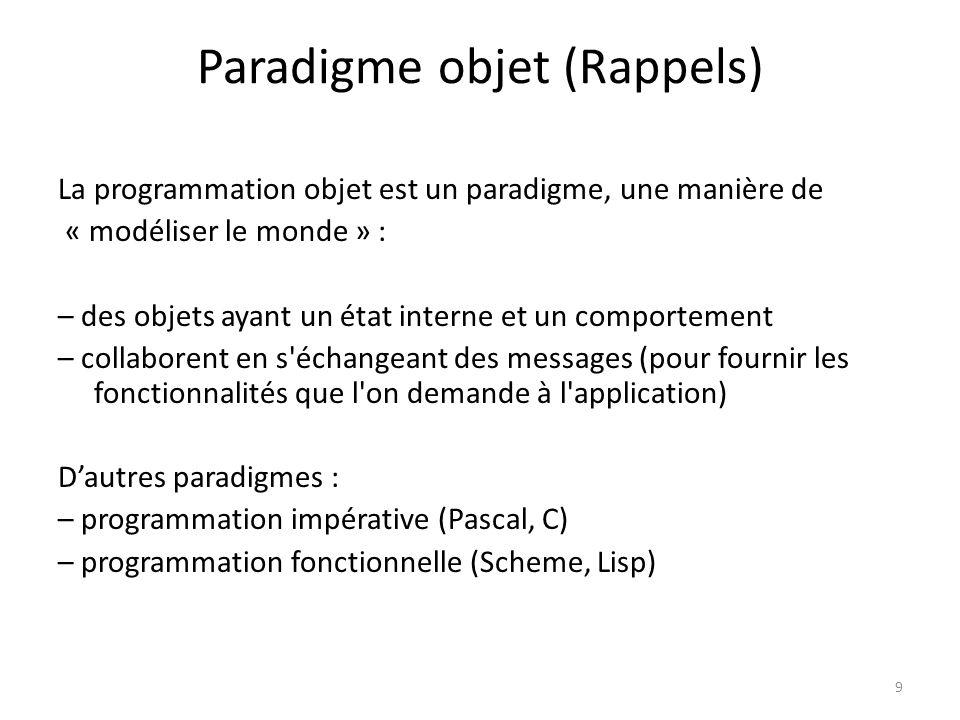 9 Paradigme objet (Rappels) La programmation objet est un paradigme, une manière de « modéliser le monde » : – des objets ayant un état interne et un