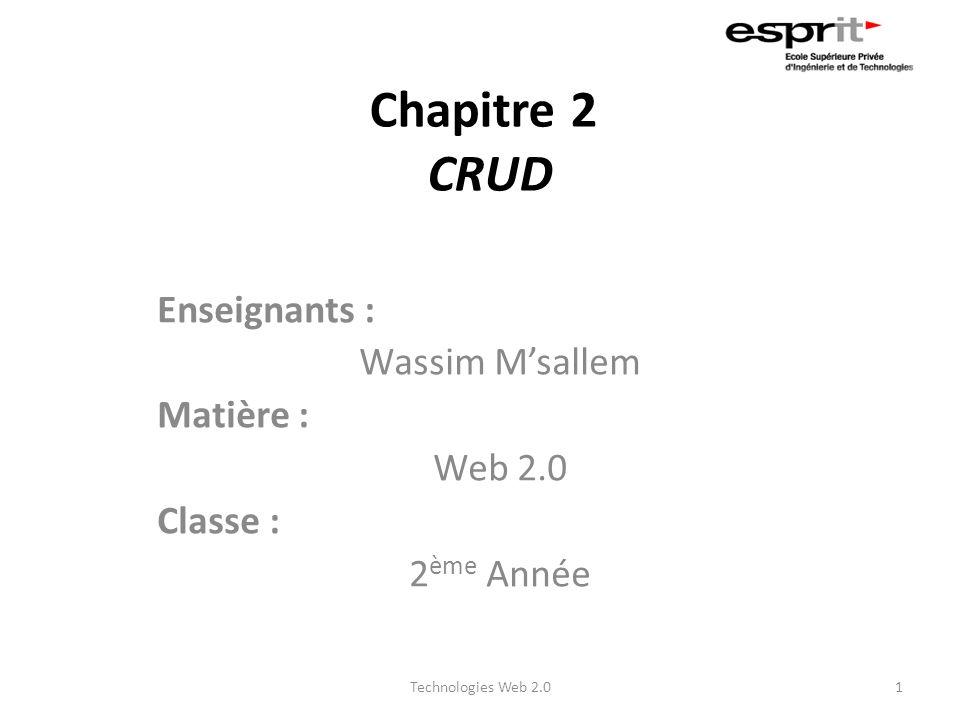 Chapitre 2 CRUD Enseignants : Wassim Msallem Matière : Web 2.0 Classe : 2 ème Année 1Technologies Web 2.0