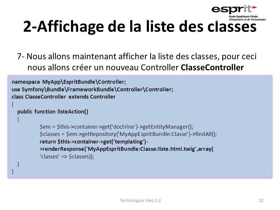2-Affichage de la liste des classes 7- Nous allons maintenant afficher la liste des classes, pour ceci nous allons créer un nouveau Controller ClasseC