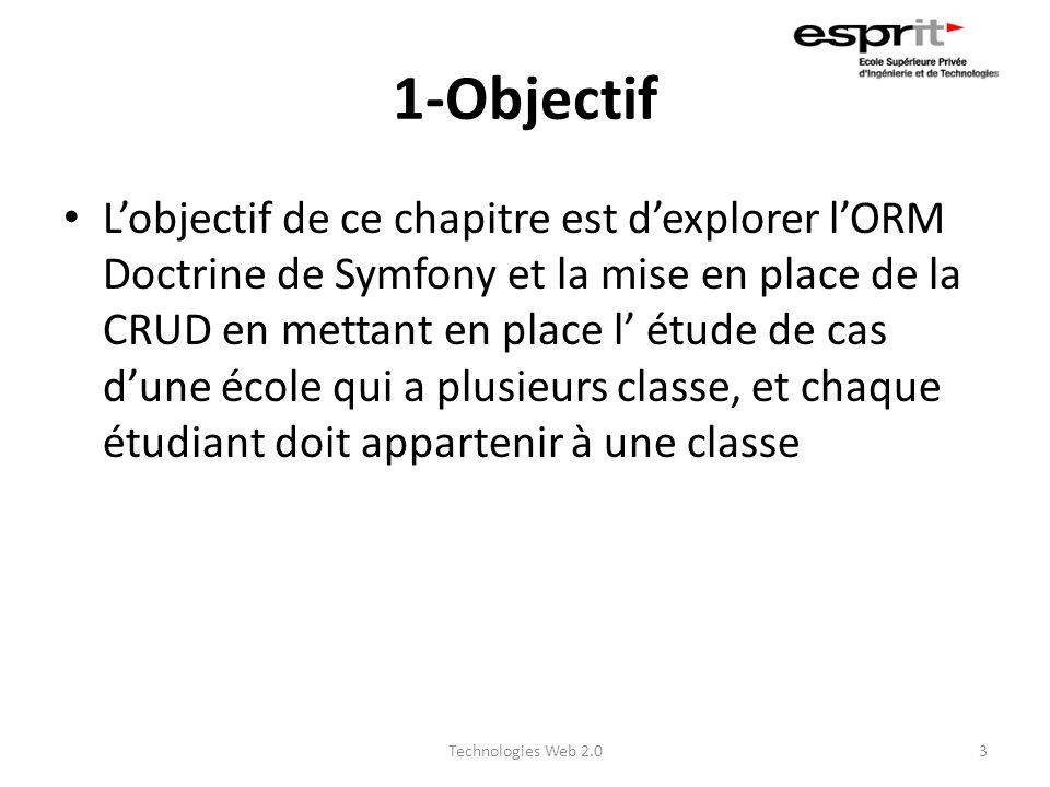 1-Objectif Lobjectif de ce chapitre est dexplorer lORM Doctrine de Symfony et la mise en place de la CRUD en mettant en place l étude de cas dune écol