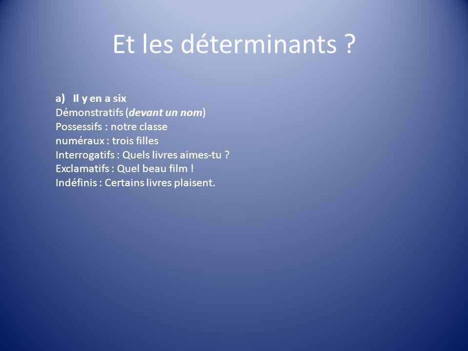 Et les déterminants ? a)Il y en a six Démonstratifs (devant un nom) Possessifs : notre classe numéraux : trois filles Interrogatifs : Quels livres aim