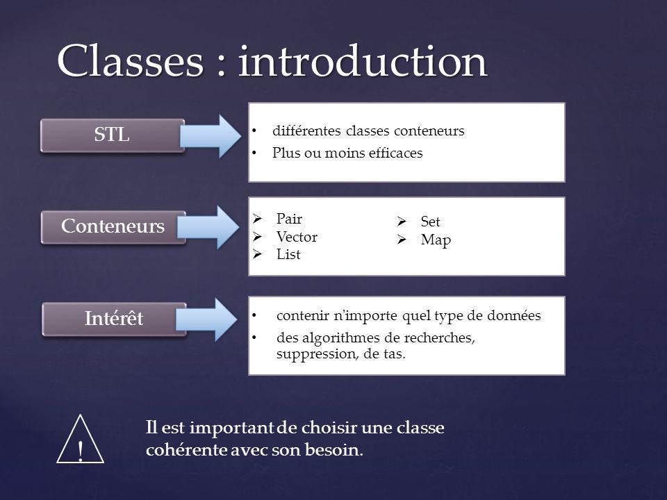 Class string bibliothèque STL bibliothèque STL Plusieurs opérations sur les chaînes de caractères Plusieurs opérations sur les chaînes de caractères Utilisé partout Utilisé partout Exemple string chaine( stl ) ; for_each(chaine.begin(), chaine.end(),toopper) ;