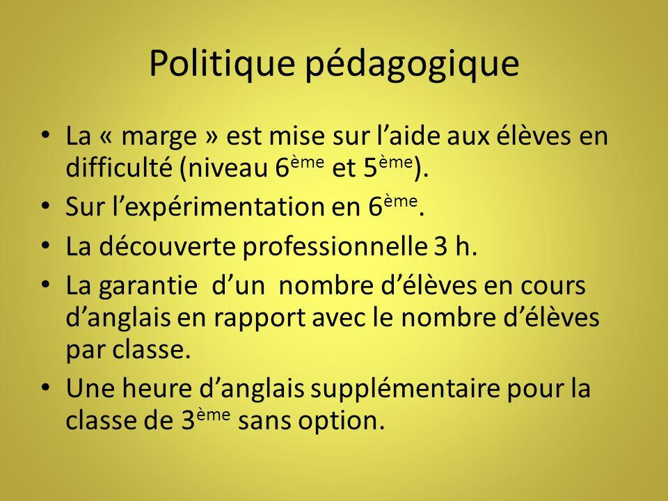 Politique pédagogique La « marge » est mise sur laide aux élèves en difficulté (niveau 6 ème et 5 ème ). Sur lexpérimentation en 6 ème. La découverte