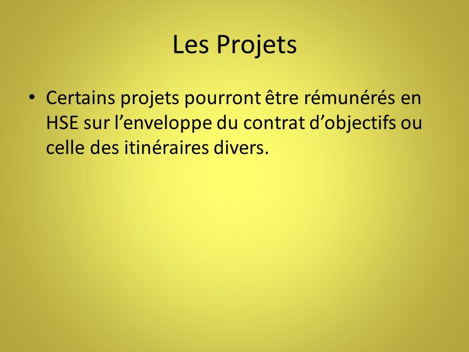 Les Projets Certains projets pourront être rémunérés en HSE sur lenveloppe du contrat dobjectifs ou celle des itinéraires divers.