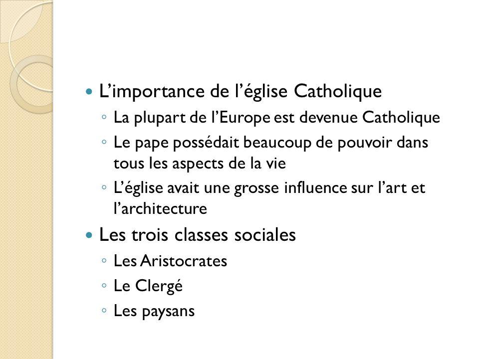 Limportance de léglise Catholique La plupart de lEurope est devenue Catholique Le pape possédait beaucoup de pouvoir dans tous les aspects de la vie L