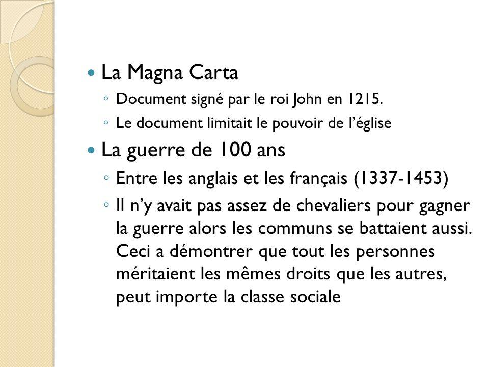 La Magna Carta Document signé par le roi John en 1215. Le document limitait le pouvoir de léglise La guerre de 100 ans Entre les anglais et les frança
