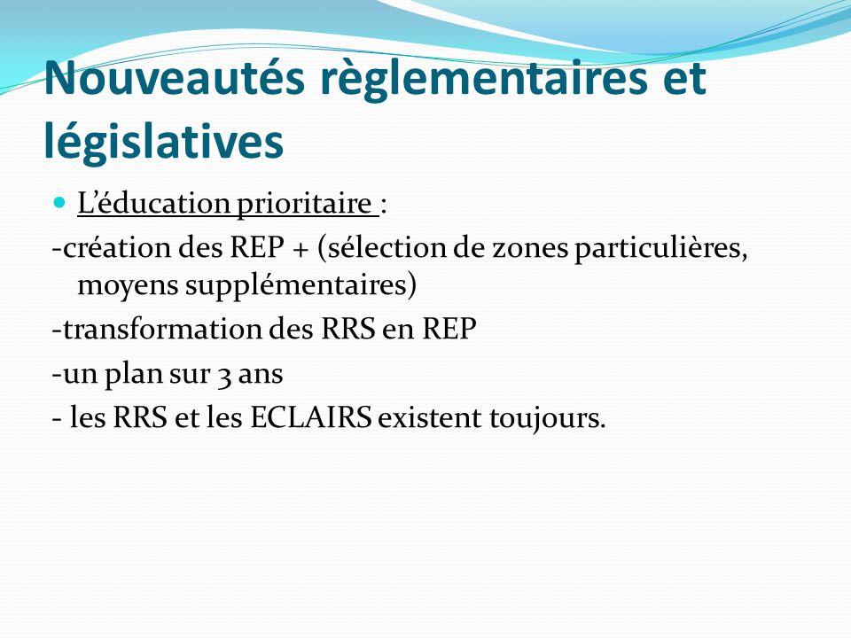 Nouveautés règlementaires et législatives Léducation prioritaire : -création des REP + (sélection de zones particulières, moyens supplémentaires) -transformation des RRS en REP -un plan sur 3 ans - les RRS et les ECLAIRS existent toujours.