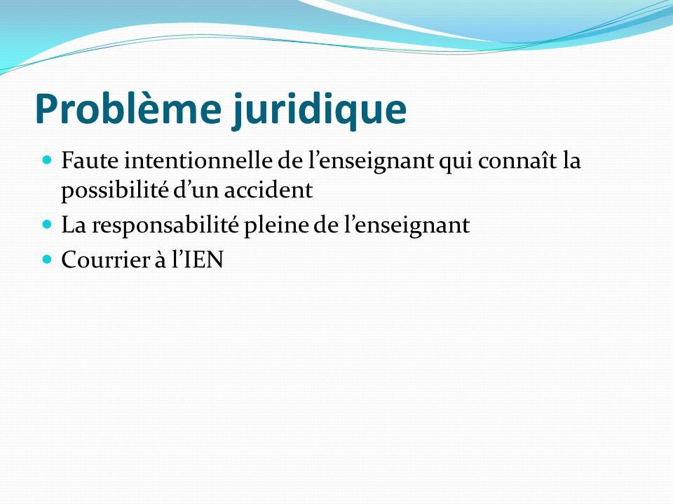 Problème juridique Faute intentionnelle de lenseignant qui connaît la possibilité dun accident La responsabilité pleine de lenseignant Courrier à lIEN