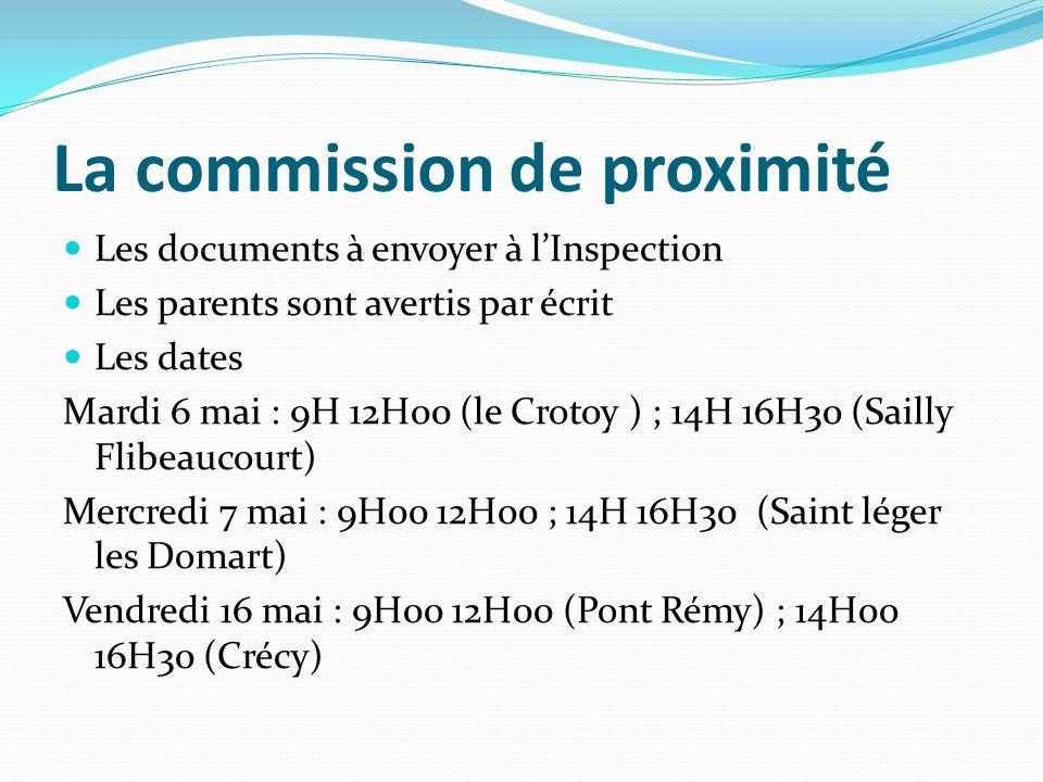 La commission de proximité Les documents à envoyer à lInspection Les parents sont avertis par écrit Les dates Mardi 6 mai : 9H 12H00 (le Crotoy ) ; 14H 16H30 (Sailly Flibeaucourt) Mercredi 7 mai : 9H00 12H00 ; 14H 16H30 (Saint léger les Domart) Vendredi 16 mai : 9H00 12H00 (Pont Rémy) ; 14H00 16H30 (Crécy)