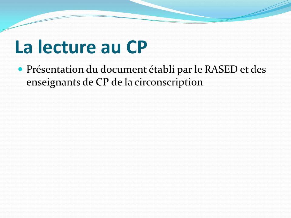 La lecture au CP Présentation du document établi par le RASED et des enseignants de CP de la circonscription