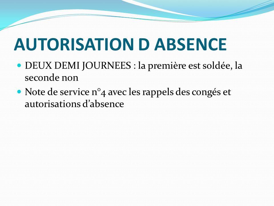 AUTORISATION D ABSENCE DEUX DEMI JOURNEES : la première est soldée, la seconde non Note de service n°4 avec les rappels des congés et autorisations dabsence