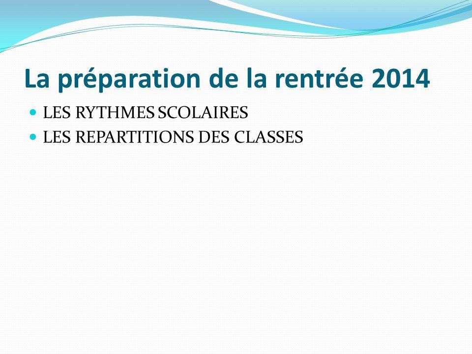 La préparation de la rentrée 2014 LES RYTHMES SCOLAIRES LES REPARTITIONS DES CLASSES