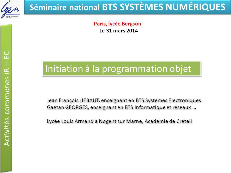 Eléments de constat Séminaire national BTS SYSTÈMES NUMÉRIQUES Initiation à la programmation objet Jean François LIEBAUT, enseignant en BTS Systèmes E