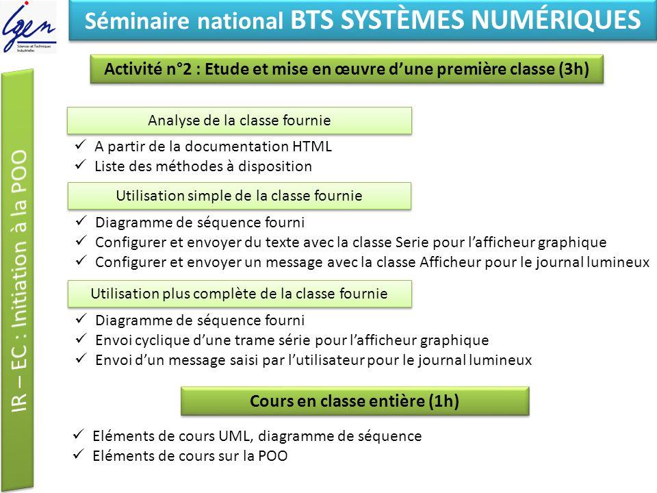 Eléments de constat Séminaire national BTS SYSTÈMES NUMÉRIQUES Activité n°2 : Etude et mise en œuvre dune première classe (3h) Analyse de la classe fo