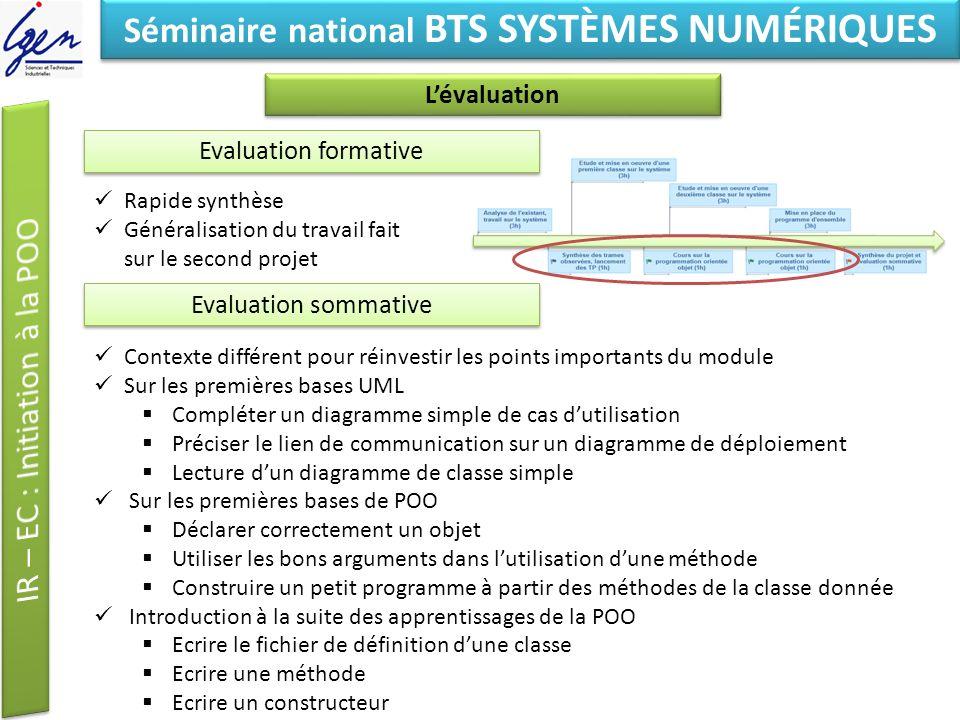 Eléments de constat Séminaire national BTS SYSTÈMES NUMÉRIQUES Lévaluation Evaluation formative Rapide synthèse Généralisation du travail fait sur le