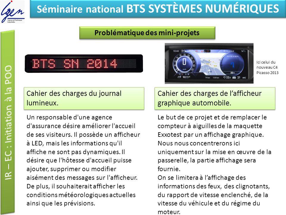 Eléments de constat Séminaire national BTS SYSTÈMES NUMÉRIQUES Prolongement, autres projets Projet afficheur graphique automobile.