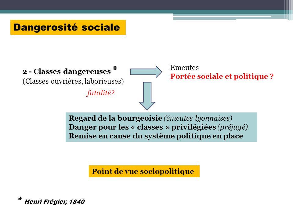 2 - Classes dangereuses * (Classes ouvrières, laborieuses) Emeutes Portée sociale et politique ? Regard de la bourgeoisie (émeutes lyonnaises) Danger