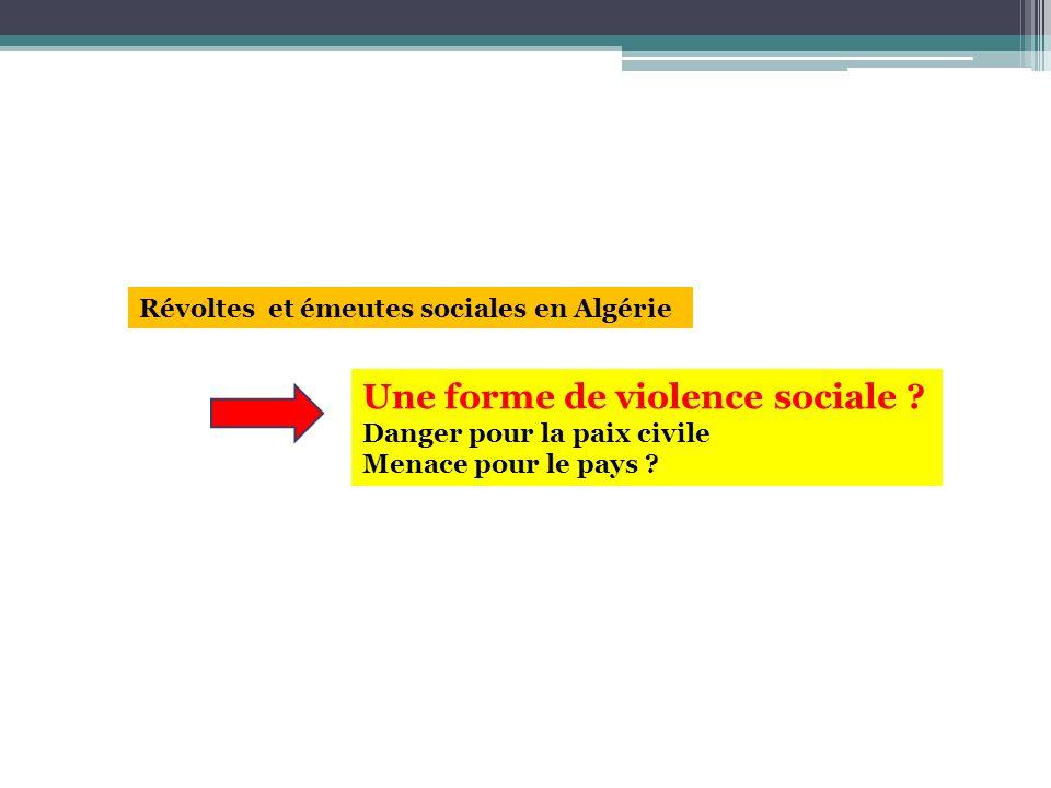 Révoltes et émeutes sociales en Algérie Une forme de violence sociale ? Danger pour la paix civile Menace pour le pays ?