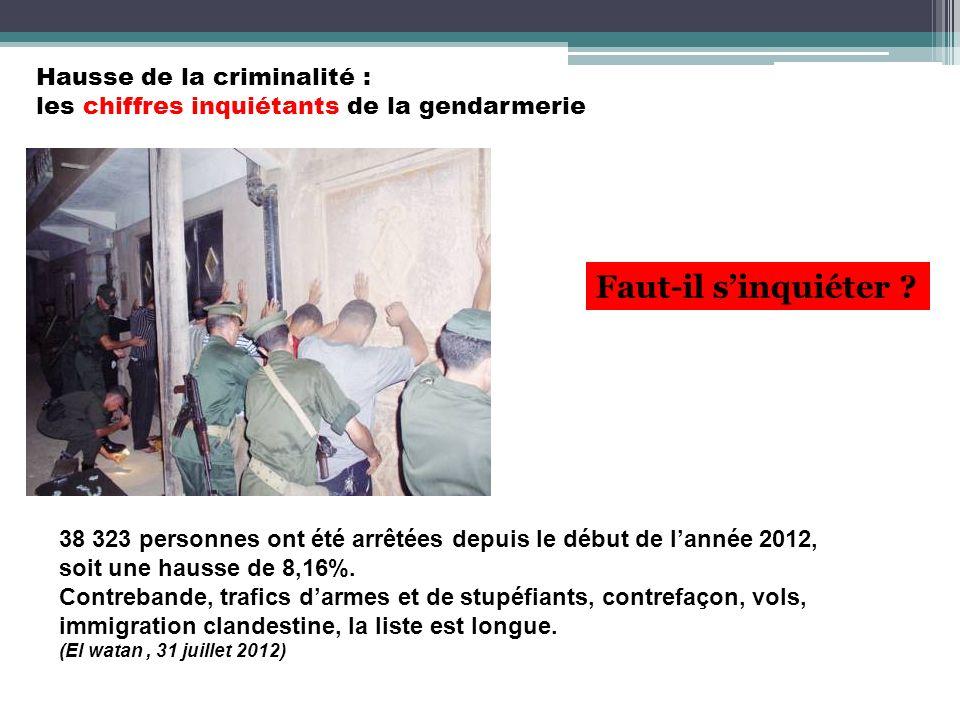 Hausse de la criminalité : les chiffres inquiétants de la gendarmerie 38 323 personnes ont été arrêtées depuis le début de lannée 2012, soit une hauss
