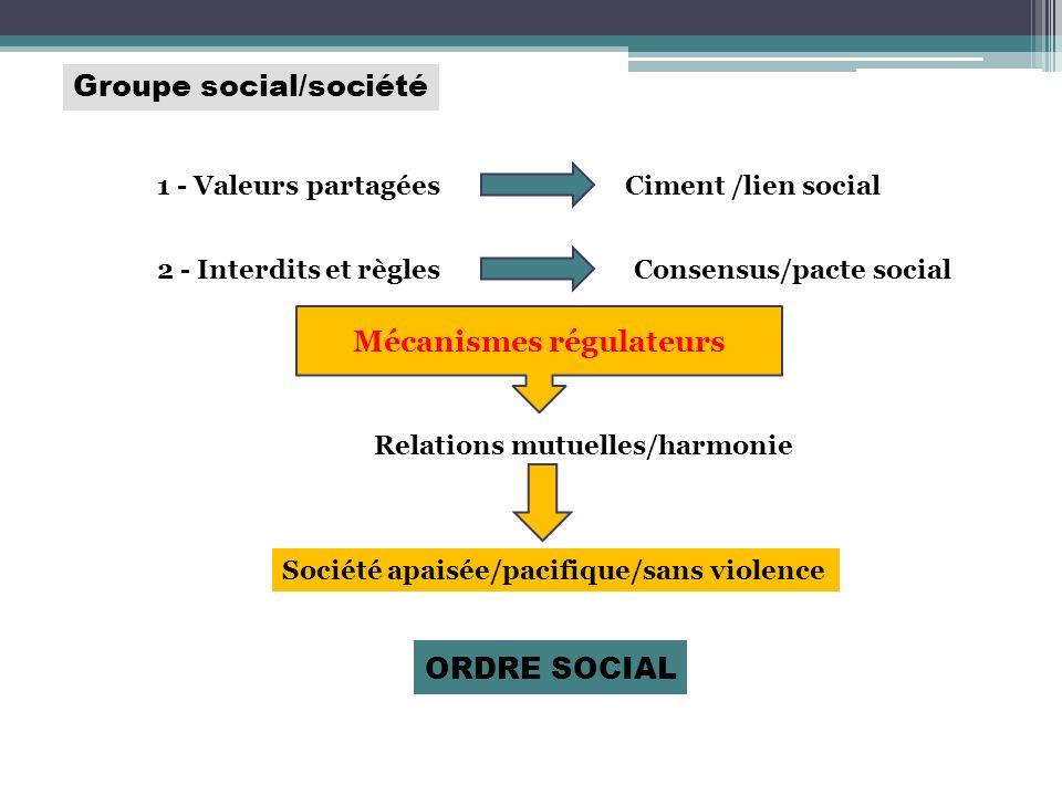 Groupe social/société 1 - Valeurs partagéesCiment /lien social 2 - Interdits et règlesConsensus/pacte social Mécanismes régulateurs Relations mutuelle