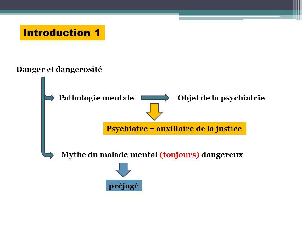 Introduction 1 Danger et dangerosité Pathologie mentaleObjet de la psychiatrie Psychiatre = auxiliaire de la justice préjugé Mythe du malade mental (t