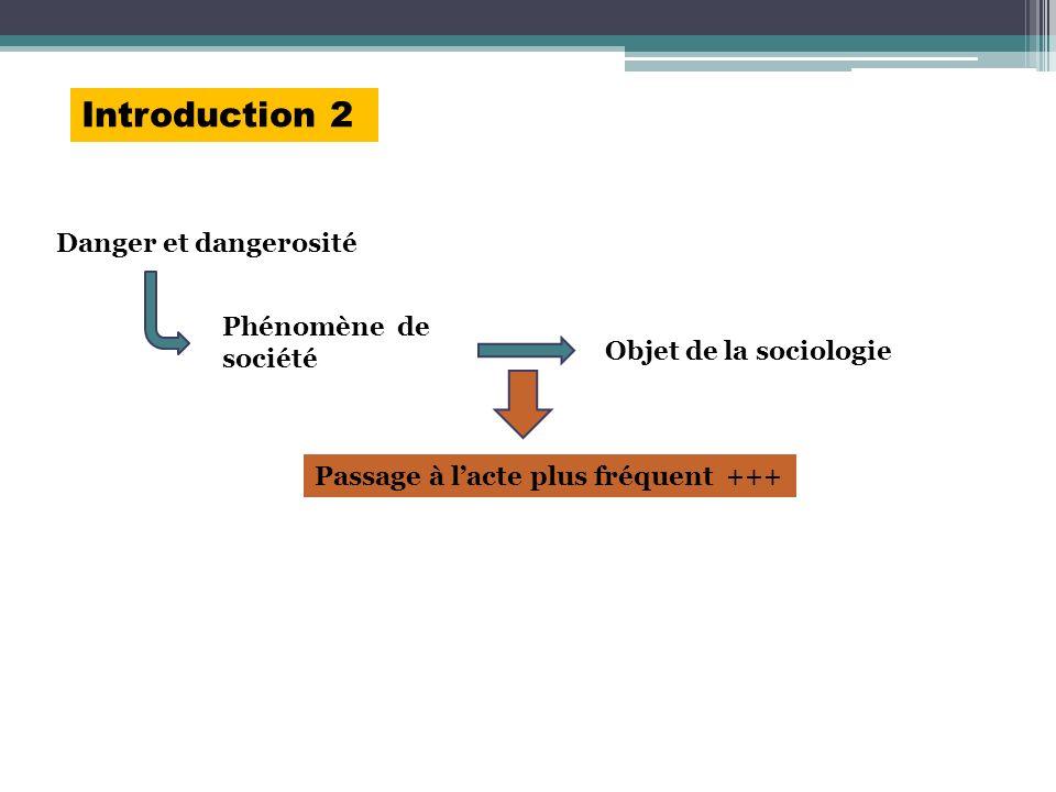 Introduction 2 Danger et dangerosité Phénomène de société Objet de la sociologie Passage à lacte plus fréquent +++