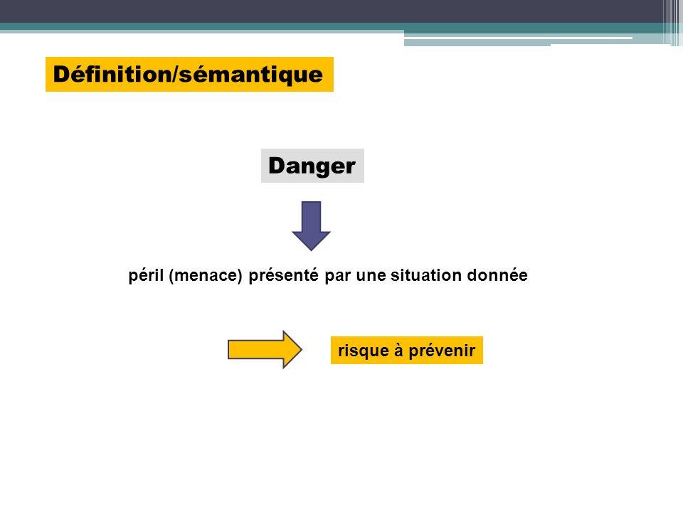 Définition/sémantique péril (menace) présenté par une situation donnée risque à prévenir Danger