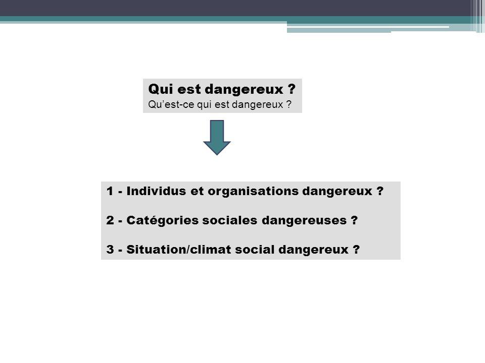 Qui est dangereux ? Quest-ce qui est dangereux ? 1 - Individus et organisations dangereux ? 2 - Catégories sociales dangereuses ? 3 - Situation/climat