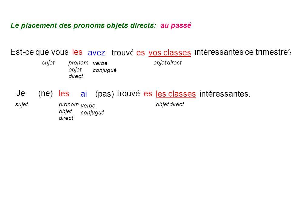 Je ai trouvé sujet verbe conjugué objet direct Est-ce que vous avez trouvévos classes sujet verbe conjugué objet direct les (pas) les pronom objet direct intéressantes ce trimestre.