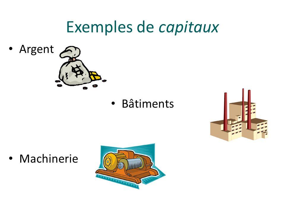 Argent Bâtiments Machinerie Exemples de capitaux