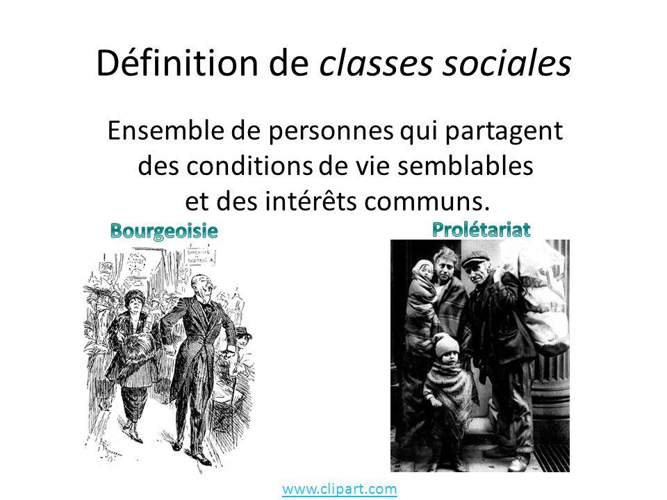 Définition de classes sociales Ensemble de personnes qui partagent des conditions de vie semblables et des intérêts communs.