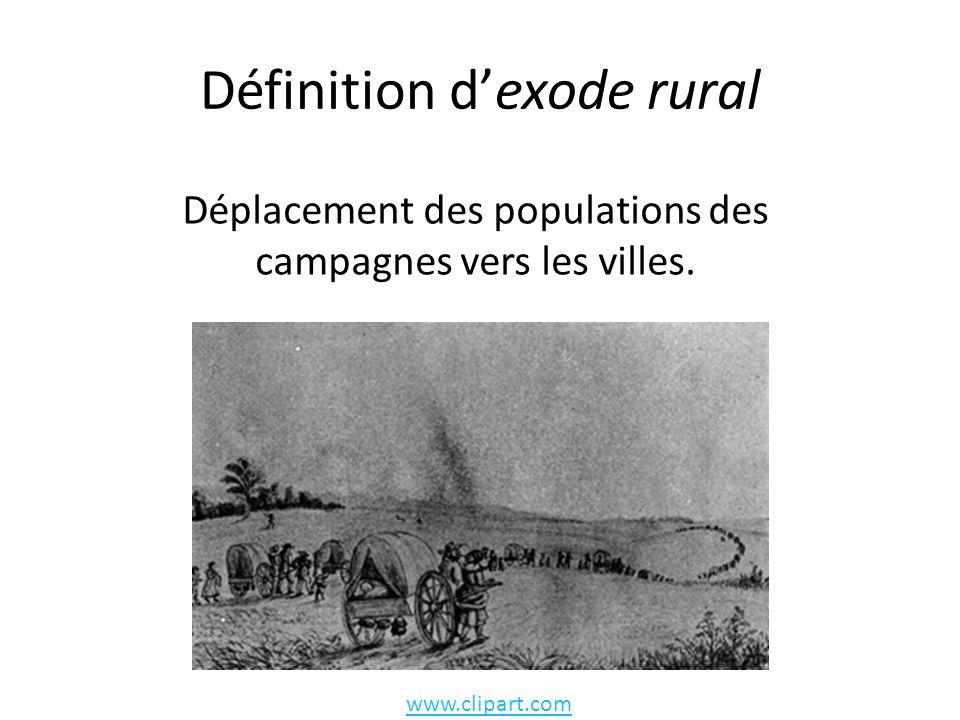 Définition dexode rural www.clipart.com Déplacement des populations des campagnes vers les villes.