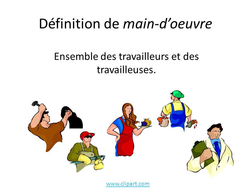 Définition de main-doeuvre Ensemble des travailleurs et des travailleuses. www.clipart.com
