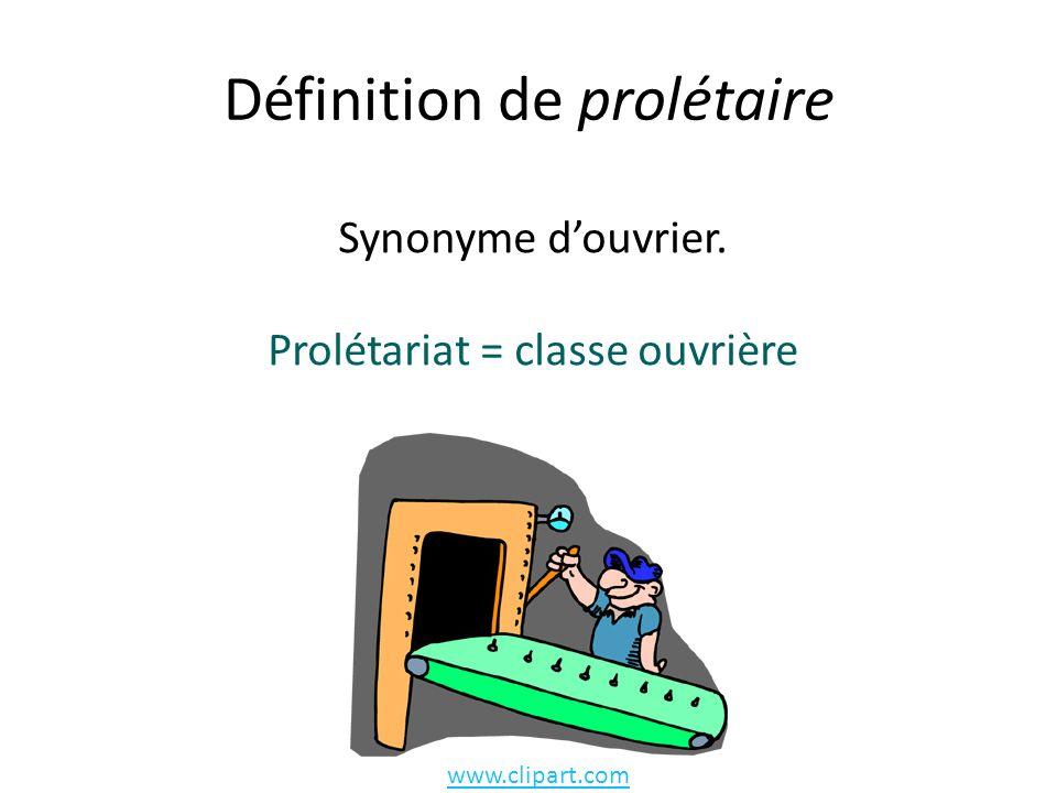 Définition de prolétaire Synonyme douvrier. Prolétariat = classe ouvrière www.clipart.com