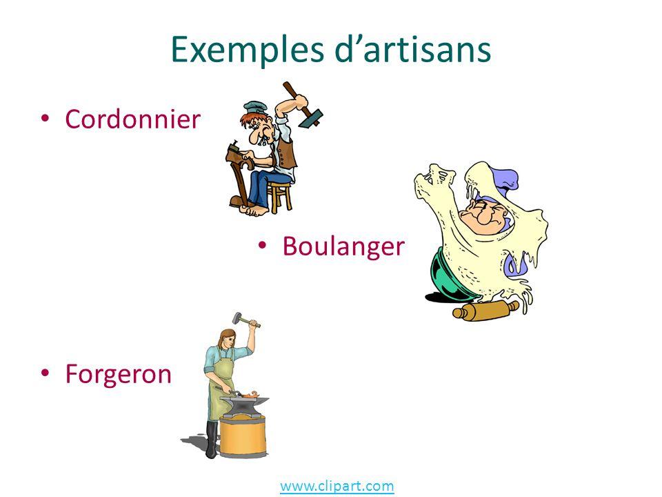 Exemples dartisans Cordonnier Boulanger Forgeron www.clipart.com