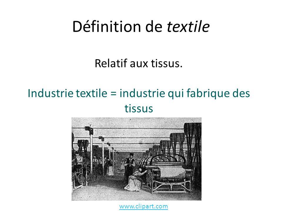 Définition de textile Relatif aux tissus.