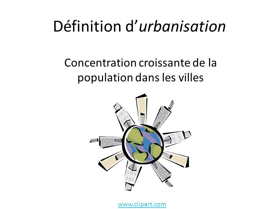 Définition durbanisation Concentration croissante de la population dans les villes www.clipart.com
