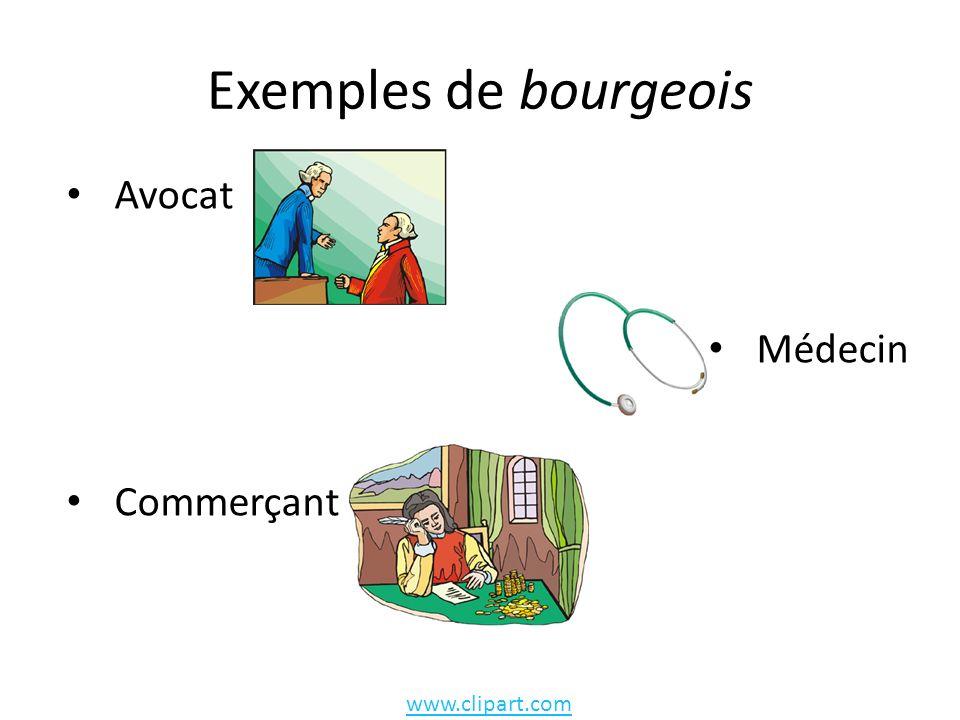 Exemples de bourgeois Avocat Médecin Commerçant www.clipart.com