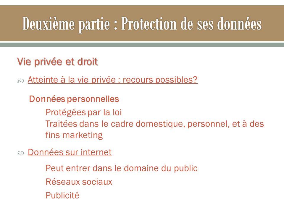 Vie privée et droit Atteinte à la vie privée : recours possibles? Données personnelles Protégées par la loi Traitées dans le cadre domestique, personn