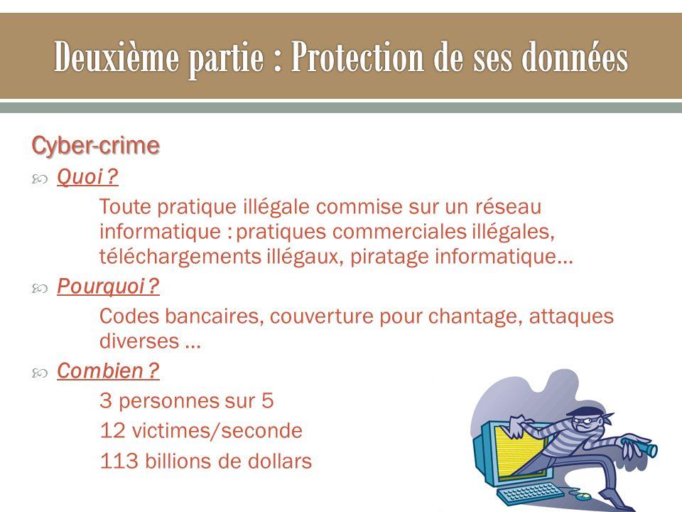 Cyber-crime Quoi ? Toute pratique illégale commise sur un réseau informatique :pratiques commerciales illégales, téléchargements illégaux, piratage in