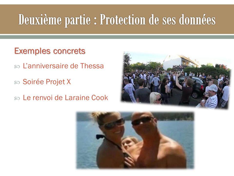 Exemples concrets Lanniversaire de Thessa Soirée Projet X Le renvoi de Laraine Cook