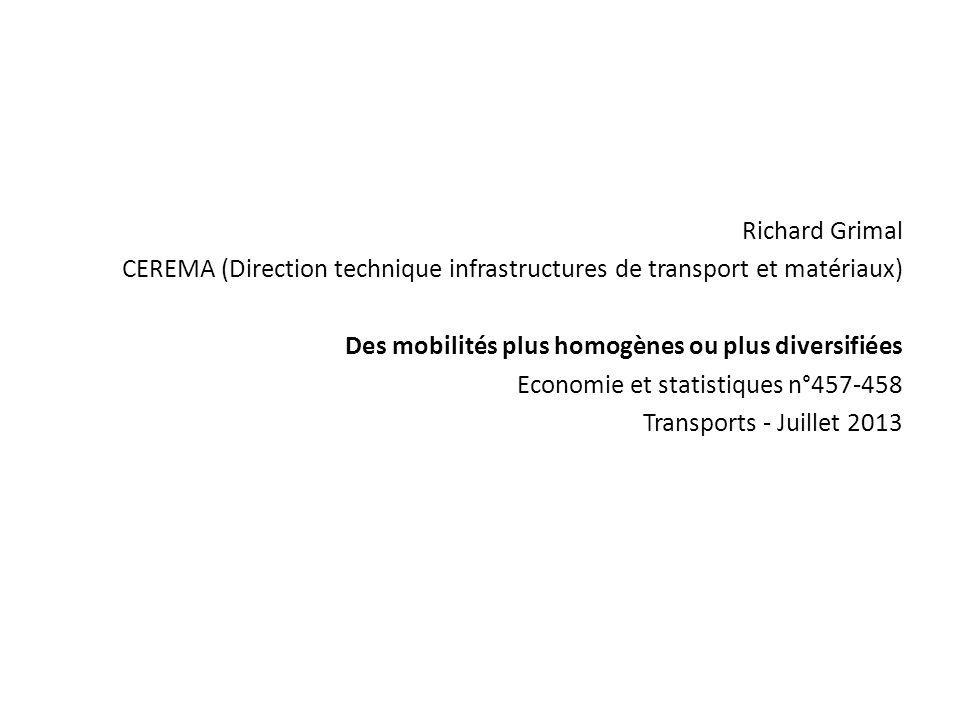 Richard Grimal CEREMA (Direction technique infrastructures de transport et matériaux) Des mobilités plus homogènes ou plus diversifiées Economie et st