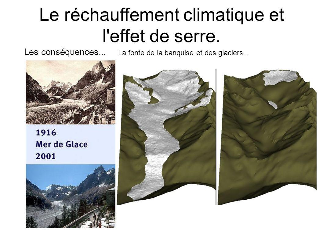 Le réchauffement climatique et l'effet de serre. Les conséquences... La fonte de la banquise et des glaciers...