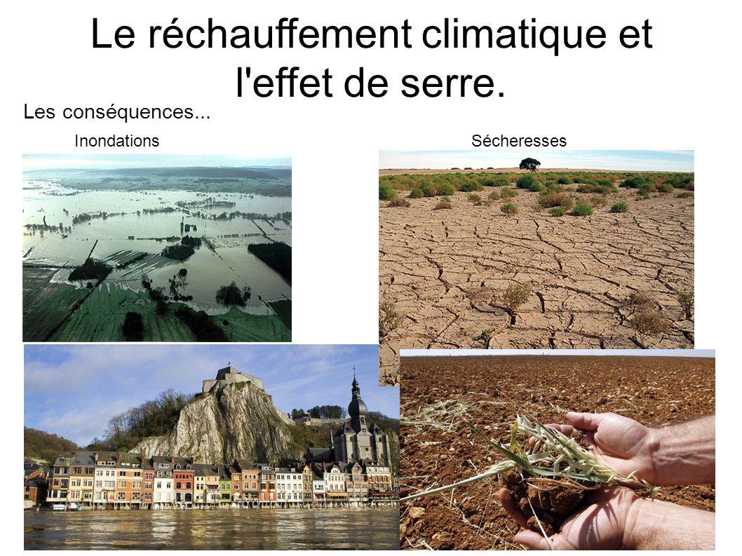 Le réchauffement climatique et l'effet de serre. Inondations Sécheresses Les conséquences...