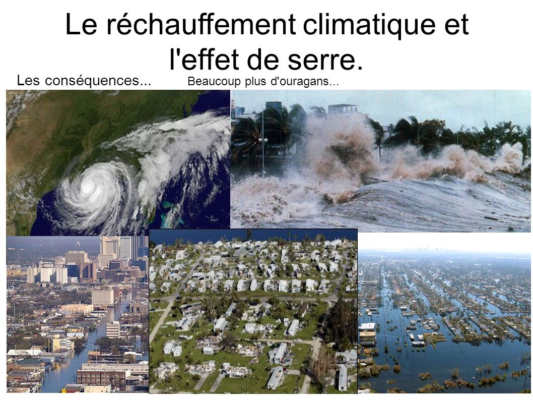 Le réchauffement climatique et l'effet de serre. Beaucoup plus d'ouragans... Les conséquences...