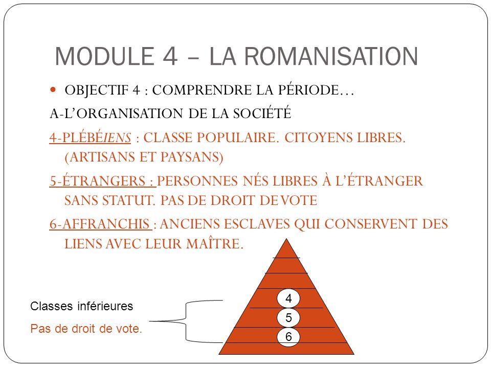 OBJECTIF 4 : COMPRENDRE LA PÉRIODE… A-LORGANISATION DE LA SOCIÉTÉ 4-PLÉBÉIENS : CLASSE POPULAIRE. CITOYENS LIBRES. (ARTISANS ET PAYSANS) 5-ÉTRANGERS :