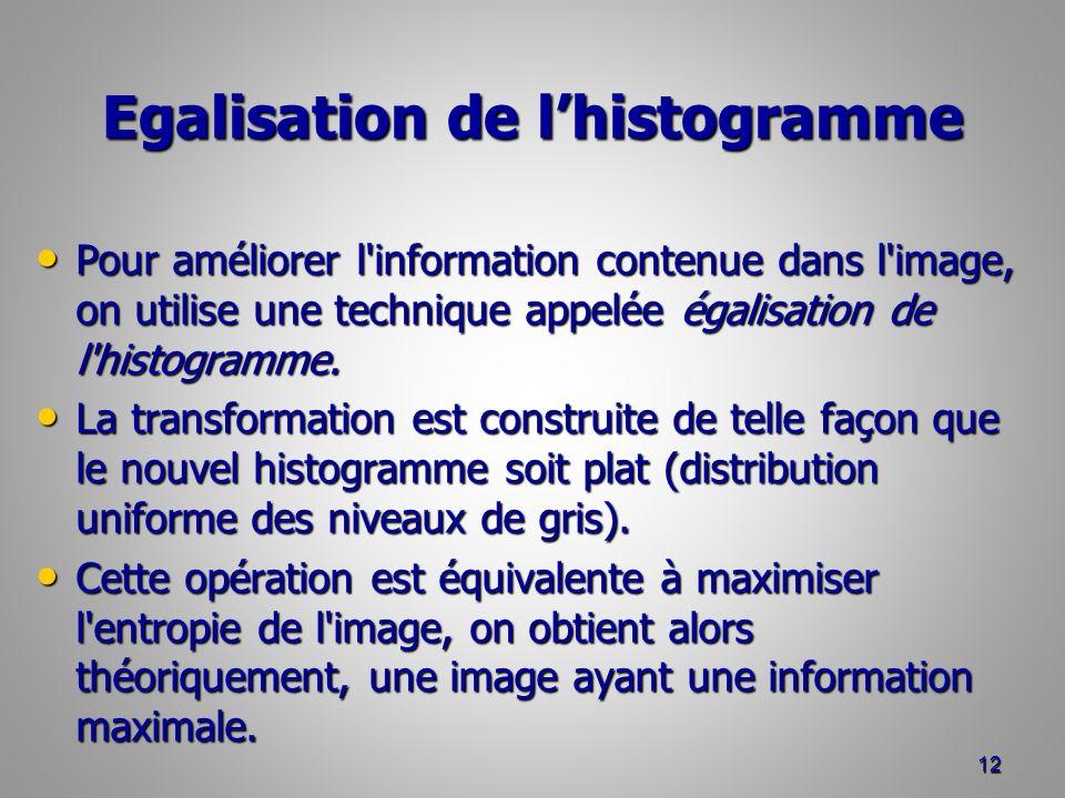 Egalisation de lhistogramme Pour améliorer l information contenue dans l image, on utilise une technique appelée égalisation de l histogramme.