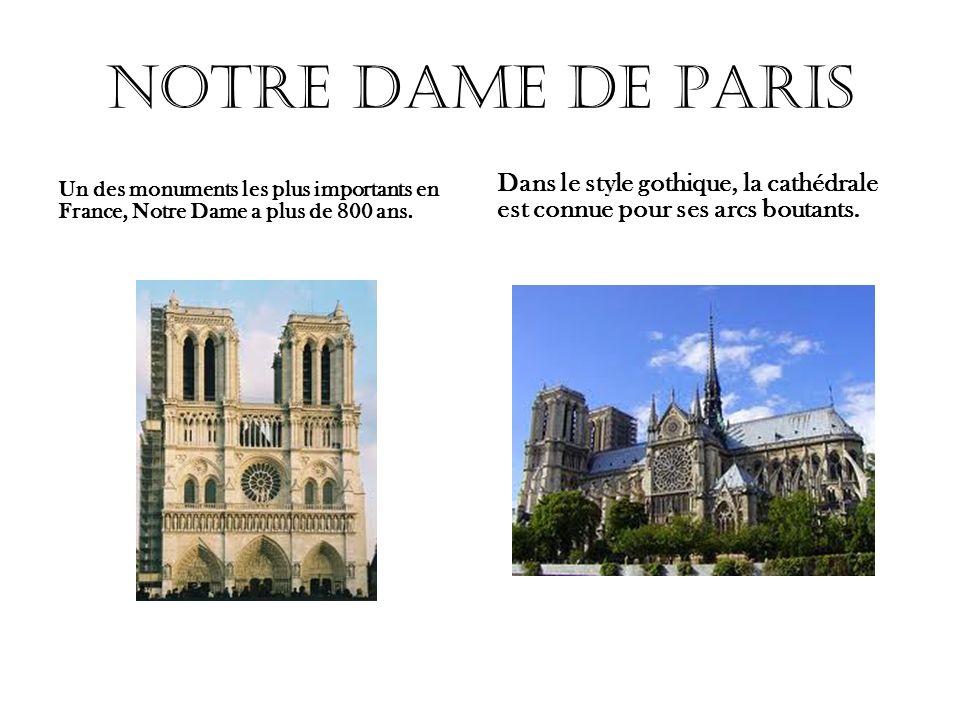 Notre Dame de Paris Un des monuments les plus importants en France, Notre Dame a plus de 800 ans. Dans le style gothique, la cathédrale est connue pou