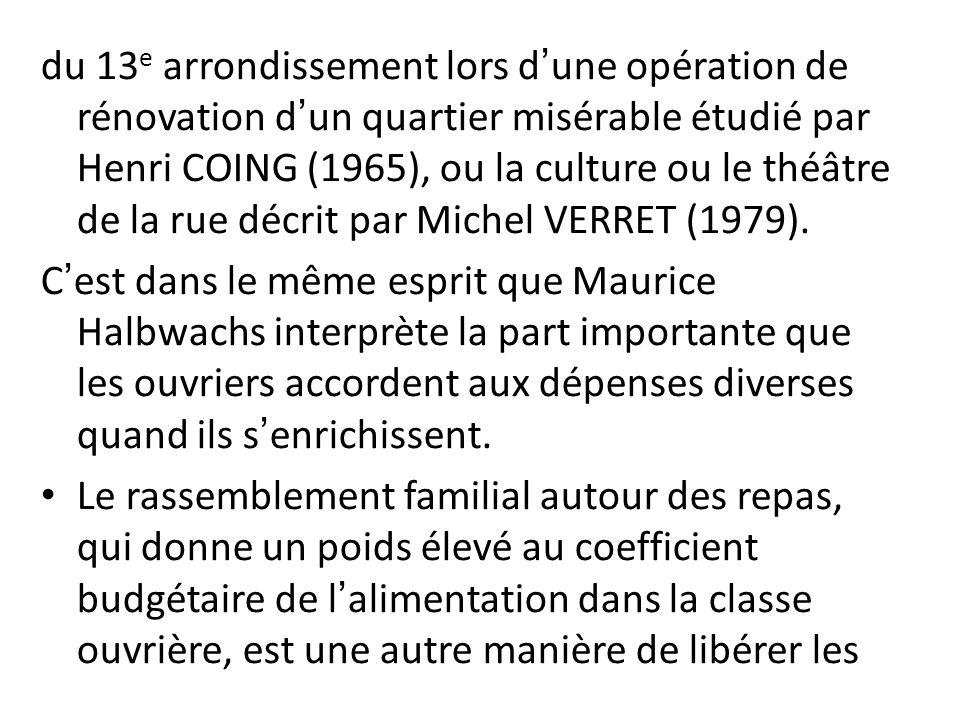 du 13 e arrondissement lors dune opération de rénovation dun quartier misérable étudié par Henri COING (1965), ou la culture ou le théâtre de la rue d