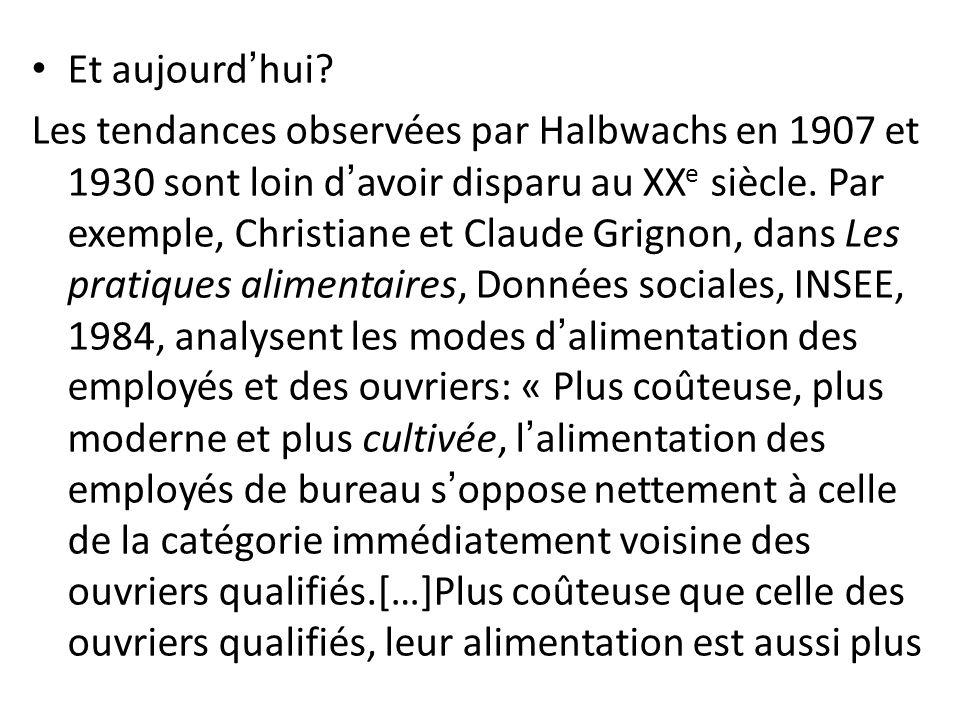 Et aujourdhui? Les tendances observées par Halbwachs en 1907 et 1930 sont loin davoir disparu au XX e siècle. Par exemple, Christiane et Claude Grigno